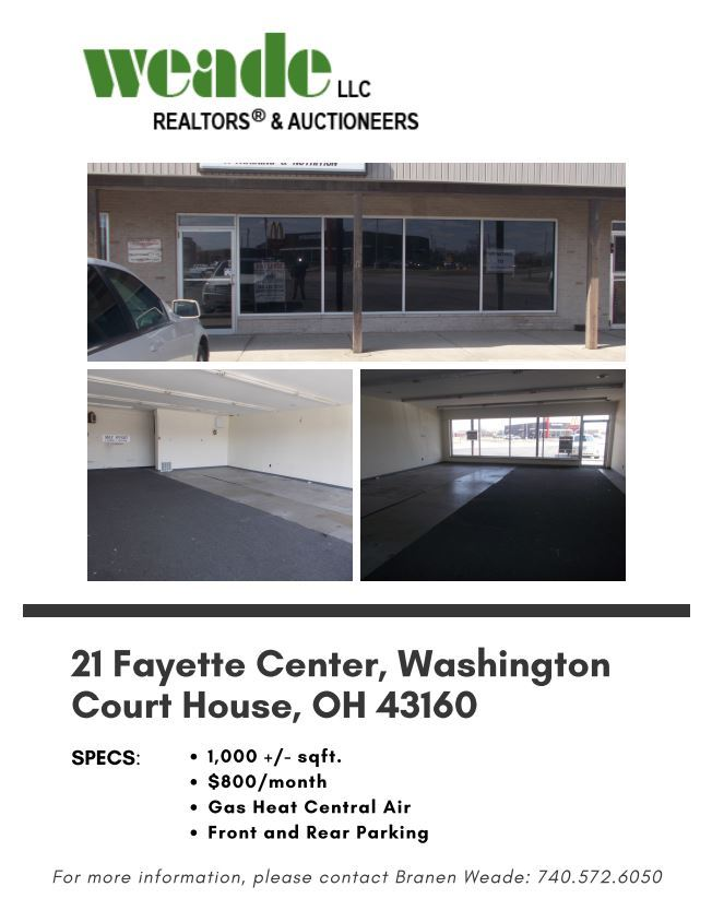 commercial property located at 21 Fayette Center in WCH. Three Images of property; 1 outside, 2 insi