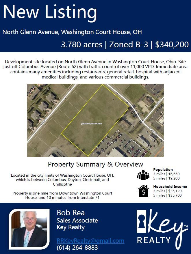 New listing property information. North Glenn ave, Washington court house OH. 3.780 acres. zoned B-3