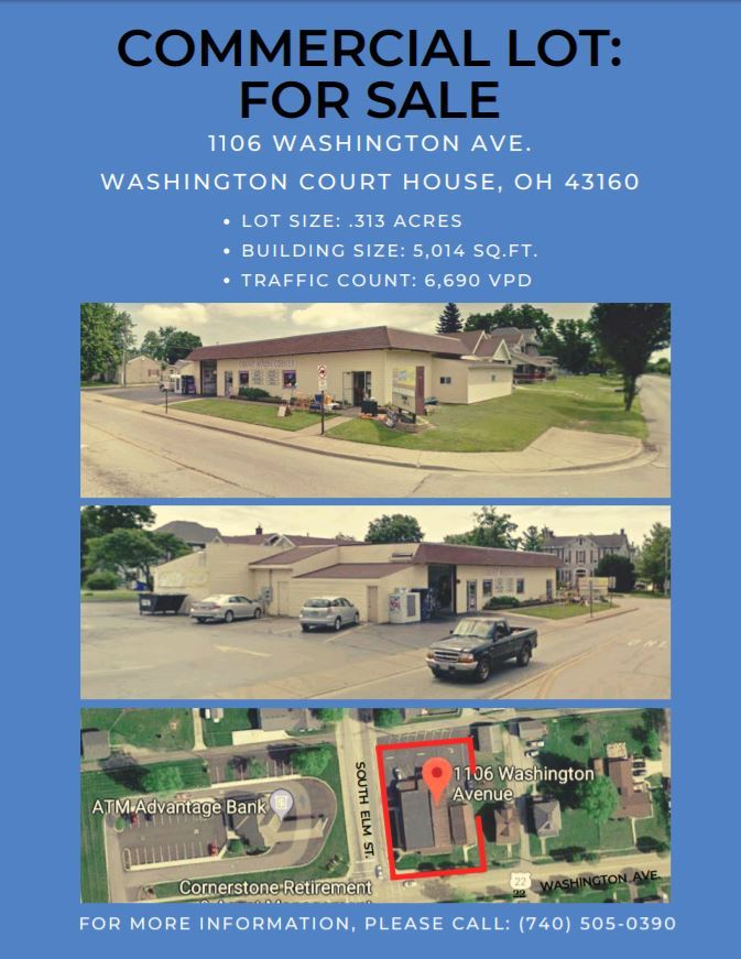 1106 Washington ave. Washington Court house ohio. zoned commercial building. .313 lot for sale